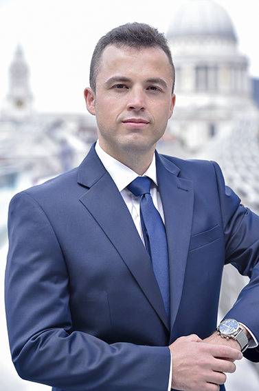 Sales director portrait with St Paul's in background of his corporate headshot