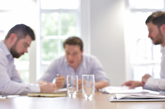 Generic business meeting photography in London offices for website banner use
