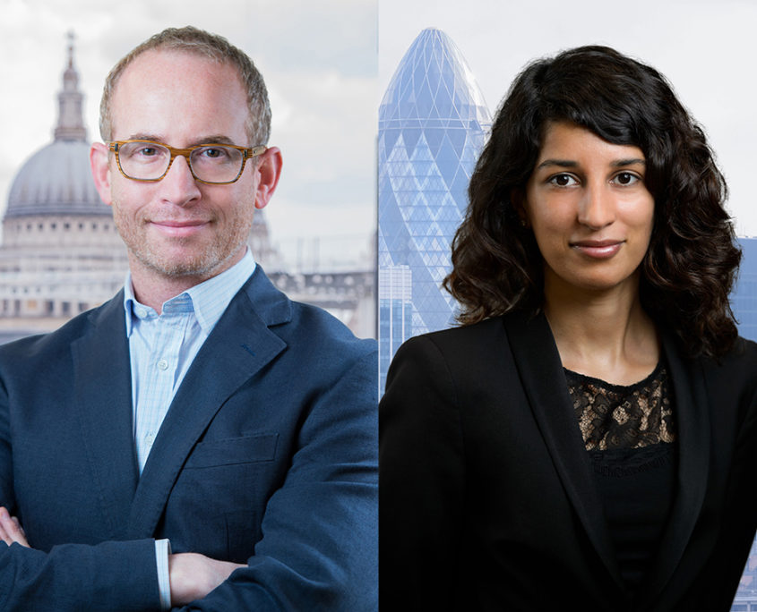 corporate headshot with London skyline added in post production