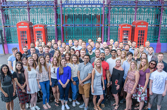 Corporate team photograph at Smithfield Market.