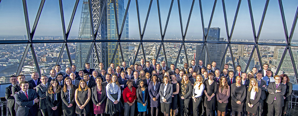 Large team corporate photograph at the Gherkin in London