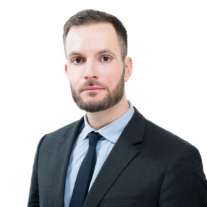 Corporate headshot with a white background edited