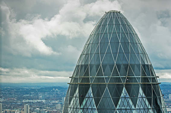 Corporate London photography Gherkin skyline view