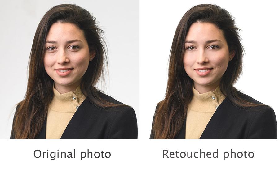 Retouching process on LinkedIn professional headshot.